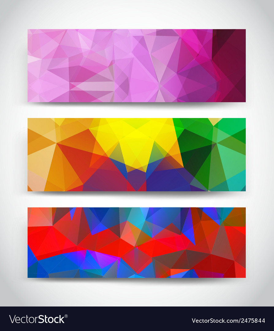 Abstract multicolor geometric triangles banners vector | Price: 1 Credit (USD $1)