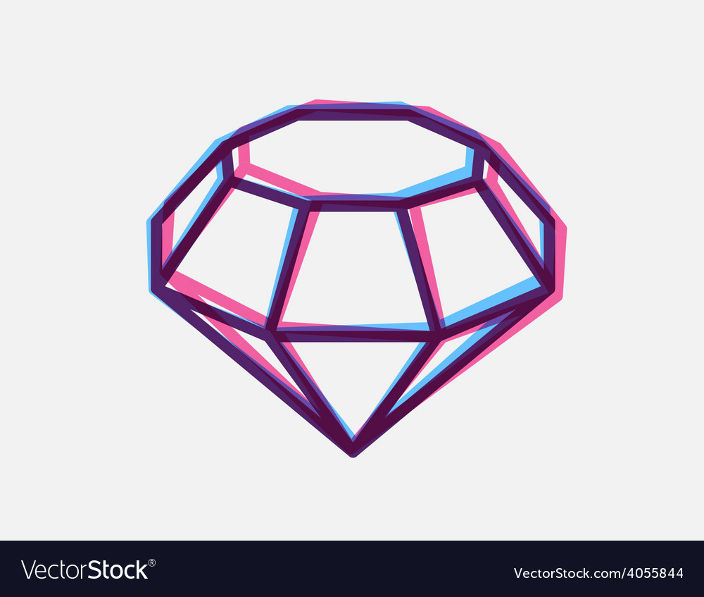 Blue and red 3d anaglyph style diamond on vector | Price: 1 Credit (USD $1)