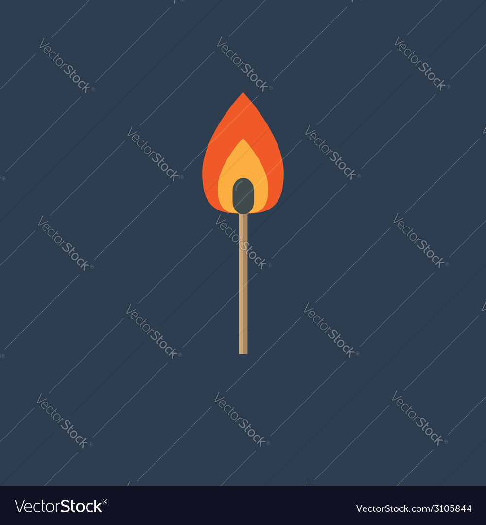 Burning match with orange fire light flat design s vector | Price: 1 Credit (USD $1)