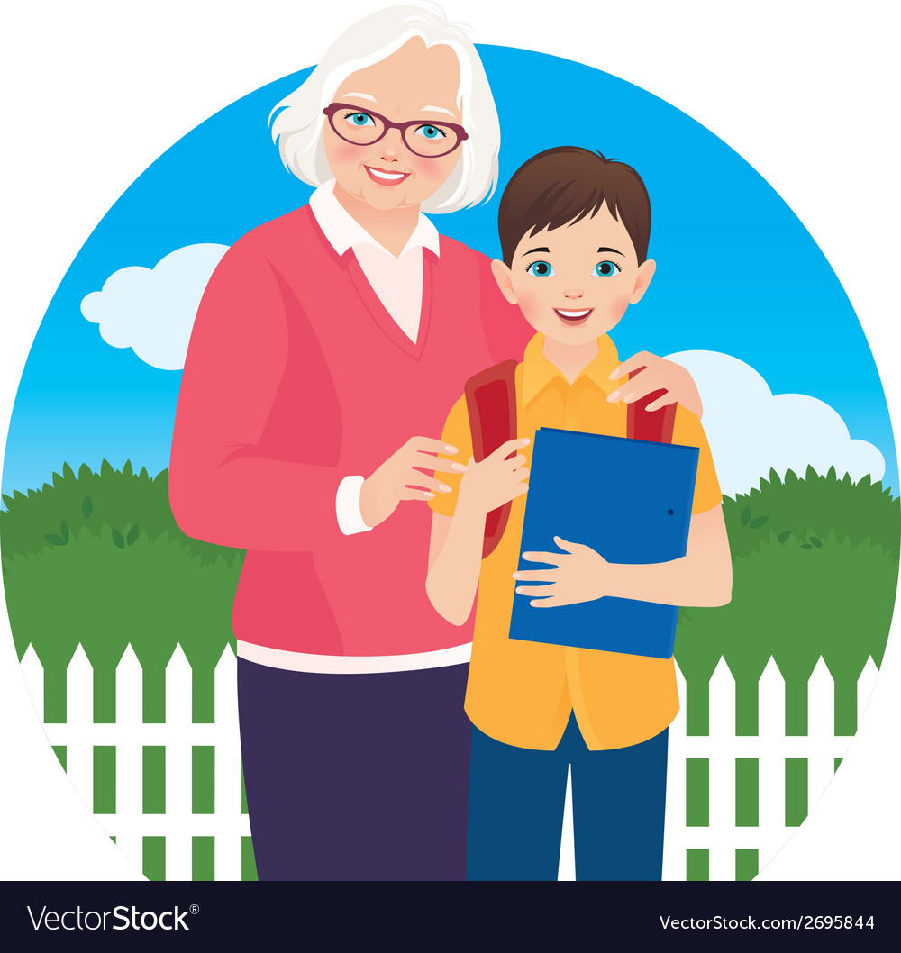 Elderly woman with her grandson schoolboy vector | Price: 1 Credit (USD $1)