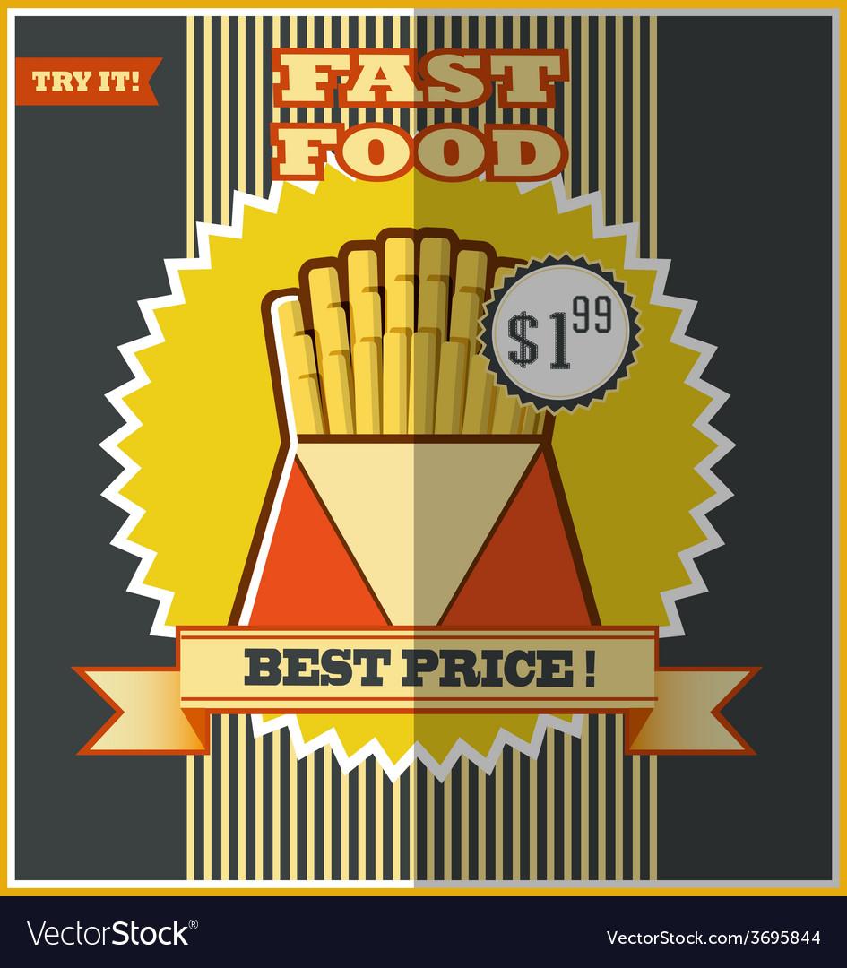 Fast food menu hot fries vector | Price: 1 Credit (USD $1)