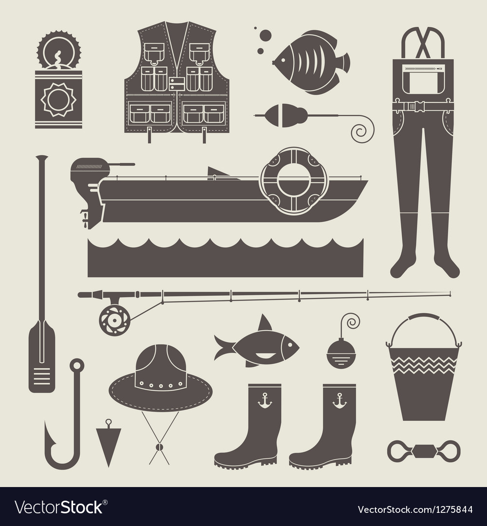 Fishing icons vector | Price: 3 Credit (USD $3)