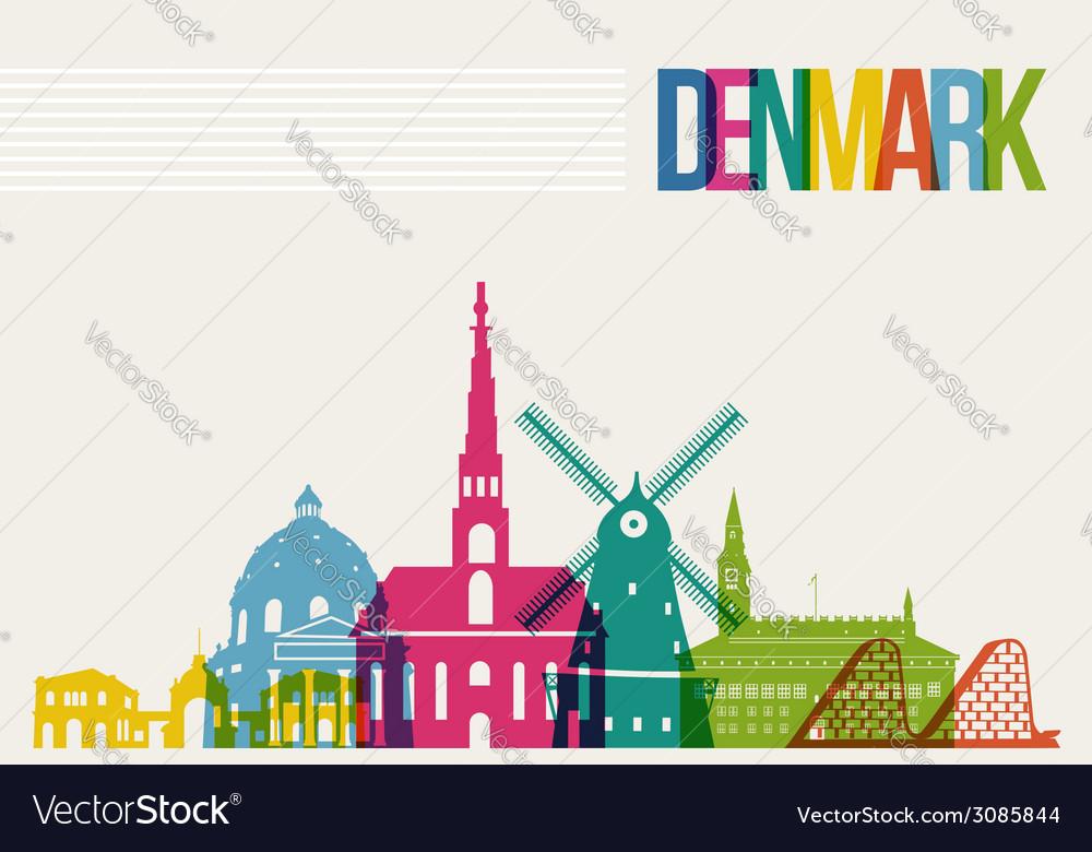 Travel denmark destination landmarks skyline vector | Price: 1 Credit (USD $1)