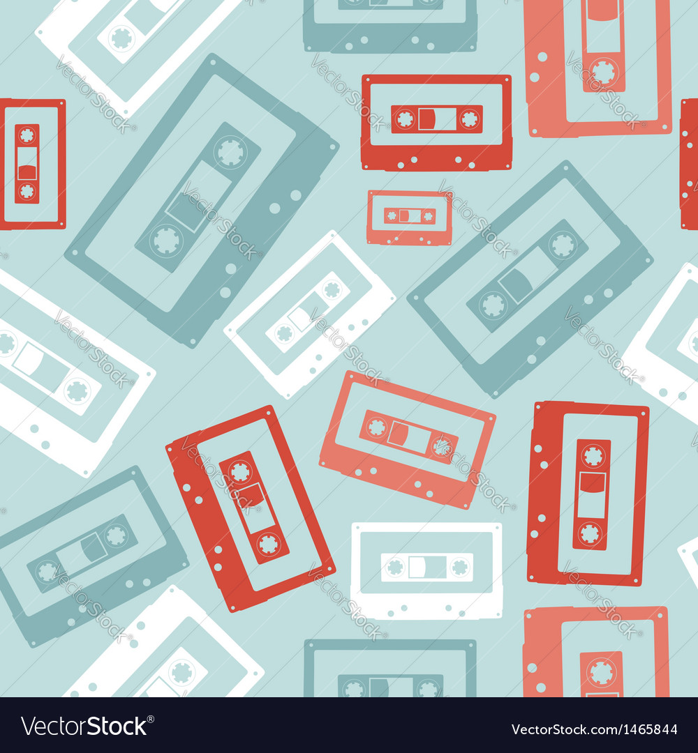 Vintage audio tapes pattern vector | Price: 1 Credit (USD $1)