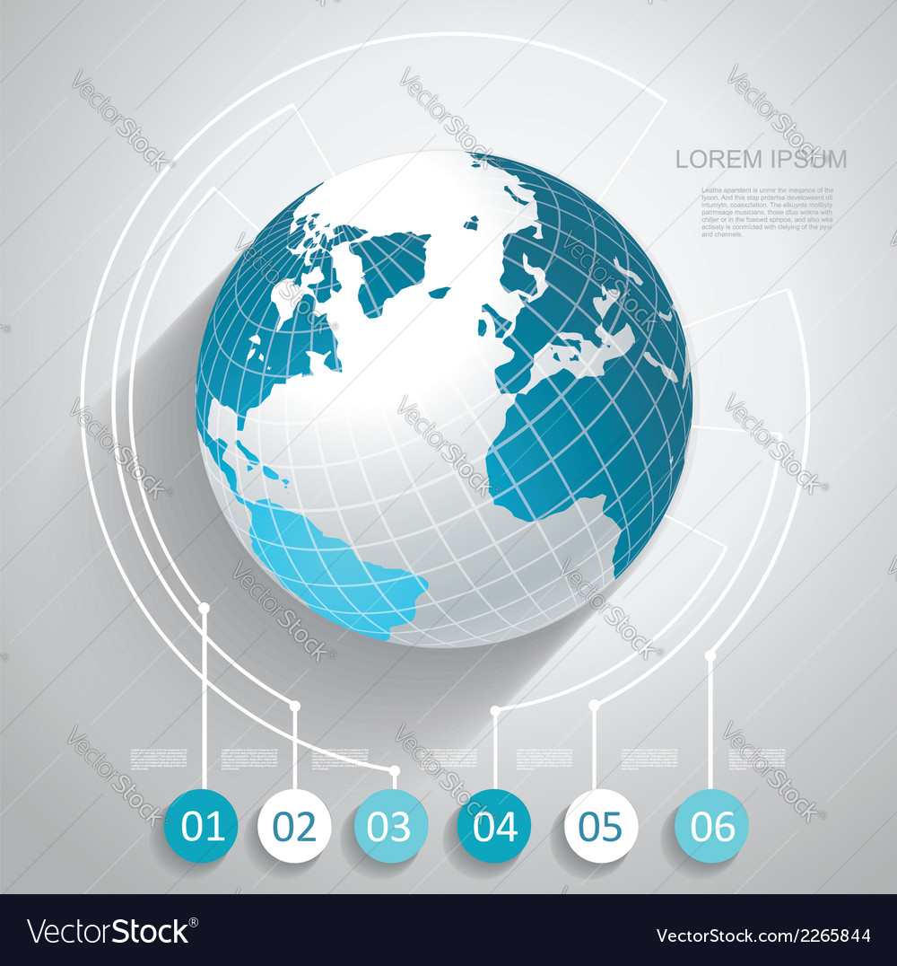 World globe with number stickers vector | Price: 1 Credit (USD $1)