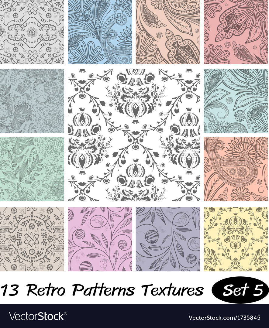 13 retro patterns textures set 5 vector | Price: 1 Credit (USD $1)