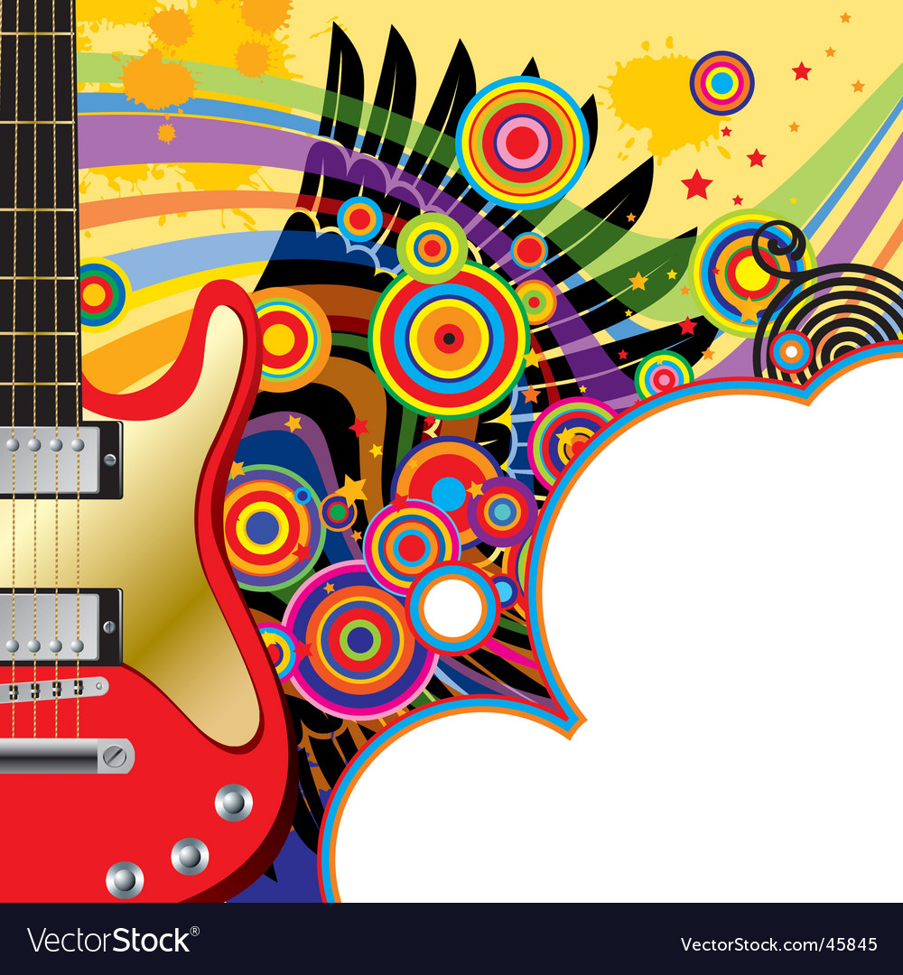 Background with a red guitar vector | Price: 1 Credit (USD $1)