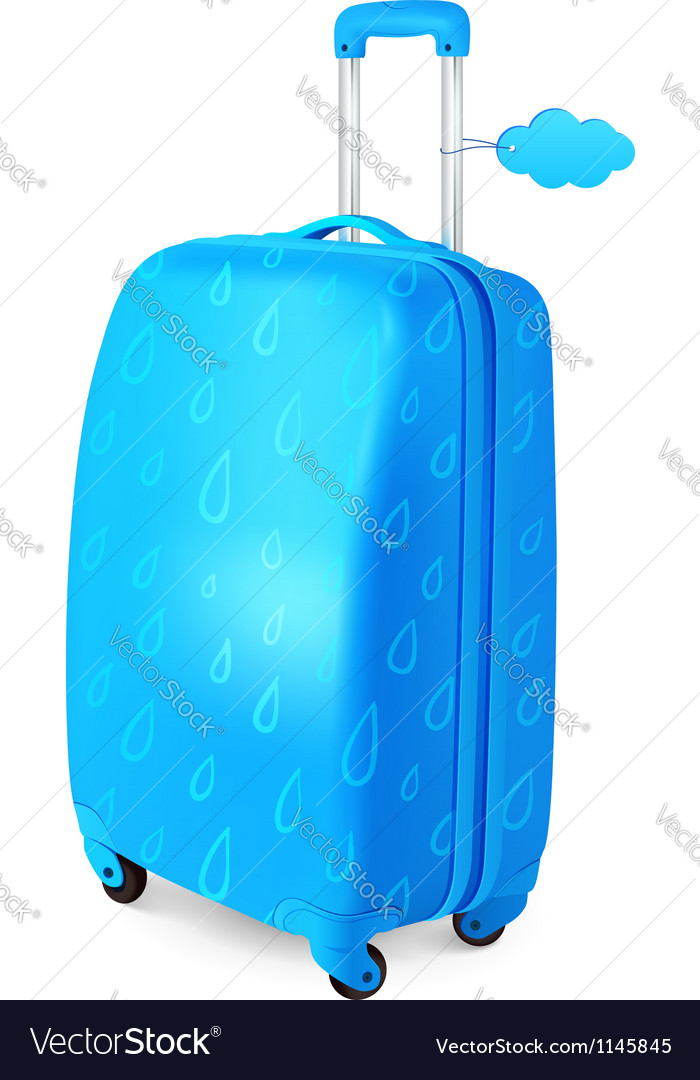 Blue travelers suitcase with rainy pattern vector | Price: 1 Credit (USD $1)