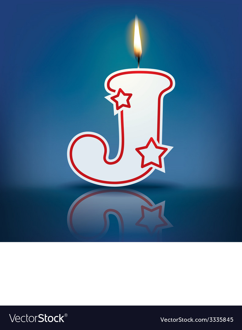 Candle letter j with flame vector | Price: 1 Credit (USD $1)