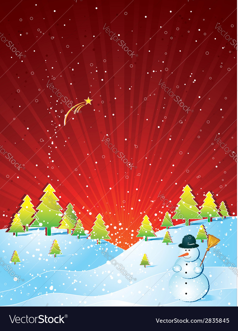 Christmas card with forest and snowman vector | Price: 1 Credit (USD $1)