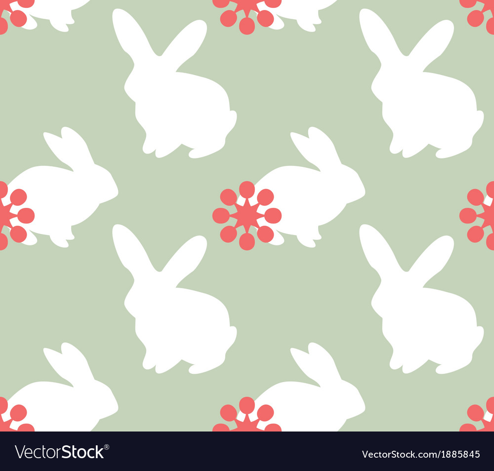 Cute seamless pattern with bunnies vector | Price: 1 Credit (USD $1)