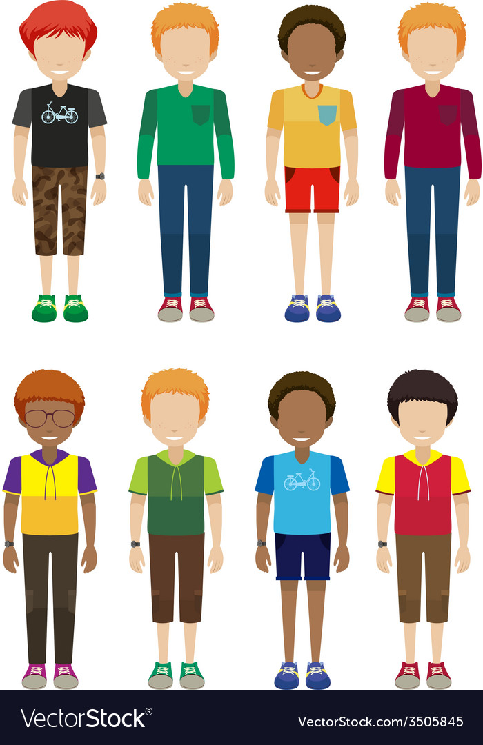 Faceless male teenagers vector | Price: 1 Credit (USD $1)