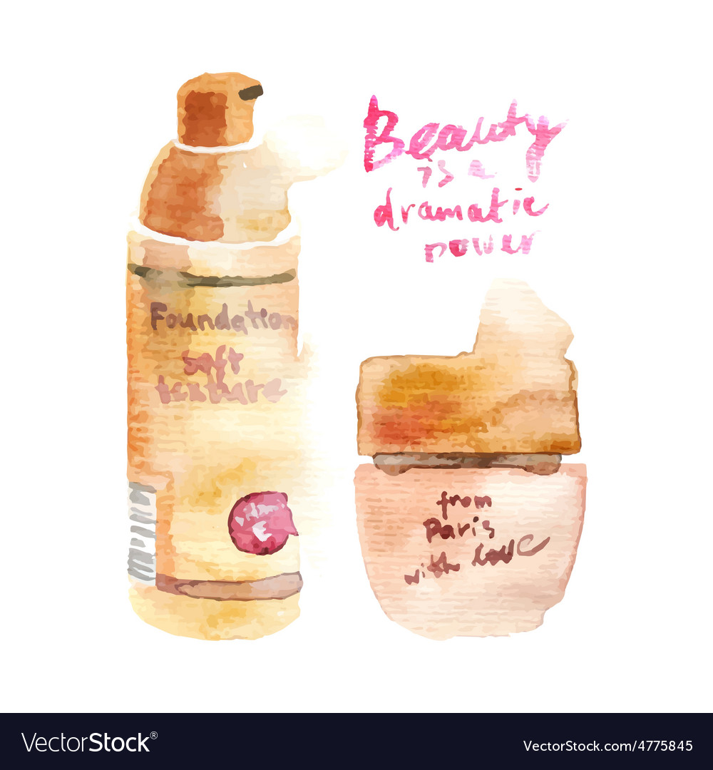 Glamorous make up watercolor cosmetics vector | Price: 1 Credit (USD $1)