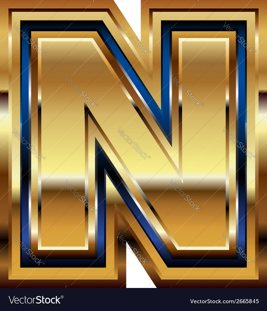 Golden font letter n vector | Price: 1 Credit (USD $1)