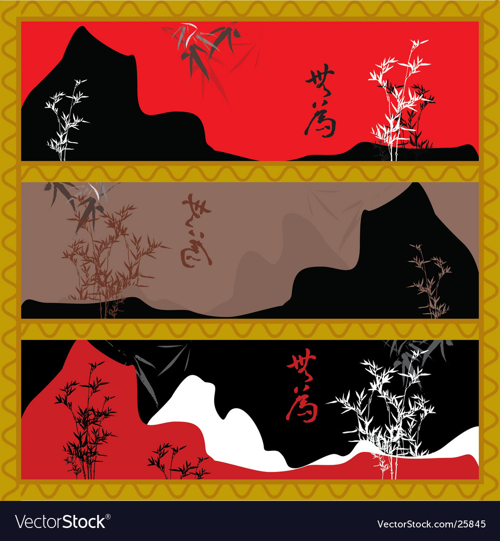 Oriental style scenery vector | Price: 1 Credit (USD $1)