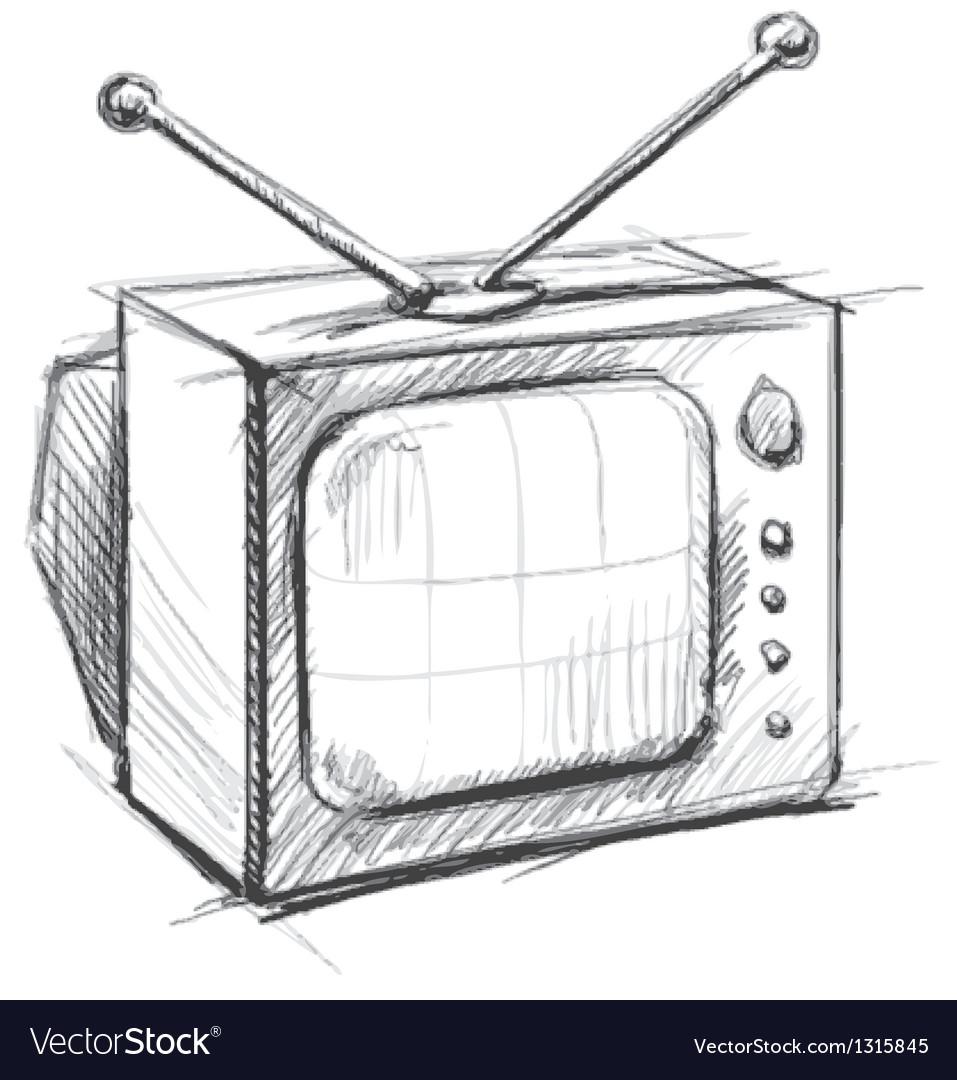 Retro tv with antenna vector | Price: 1 Credit (USD $1)
