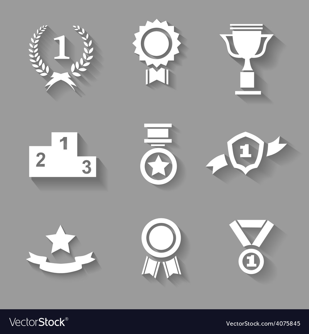 Set of white award success and victory vector | Price: 1 Credit (USD $1)
