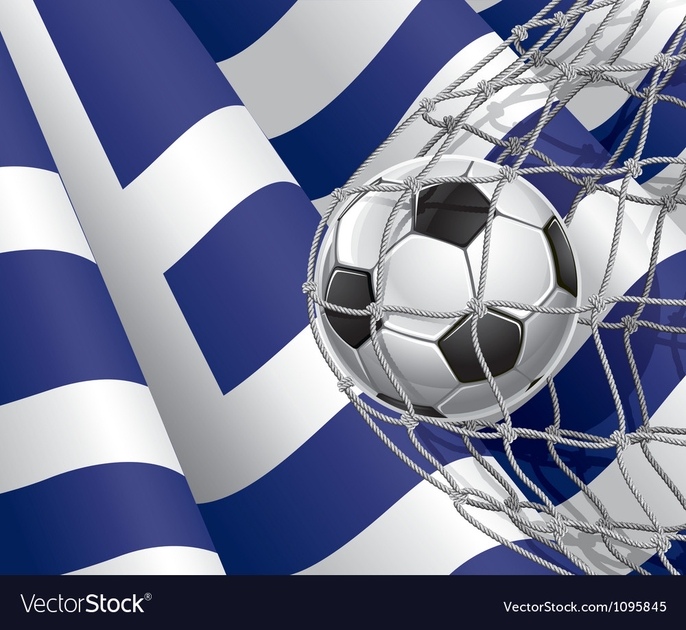 Soccer goal and greece flag vector | Price: 1 Credit (USD $1)