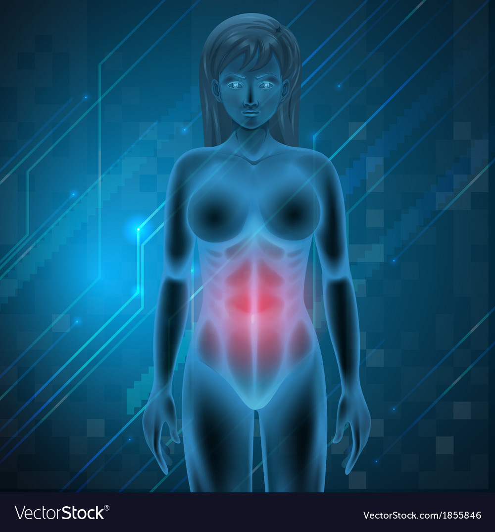 A woman experiencing pain in the stomach vector | Price: 1 Credit (USD $1)