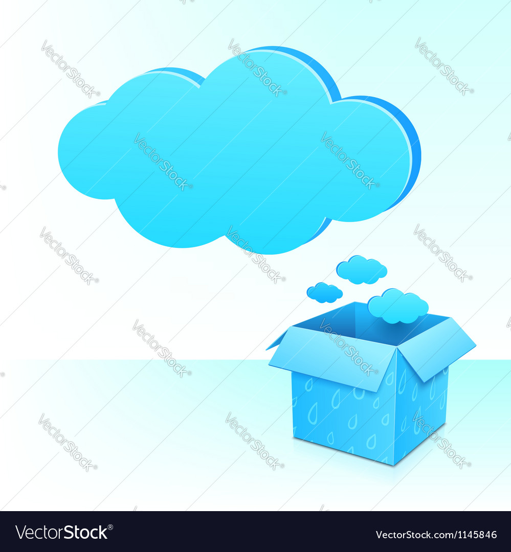 Big blue cloud from box with rainy pattern vector | Price: 1 Credit (USD $1)