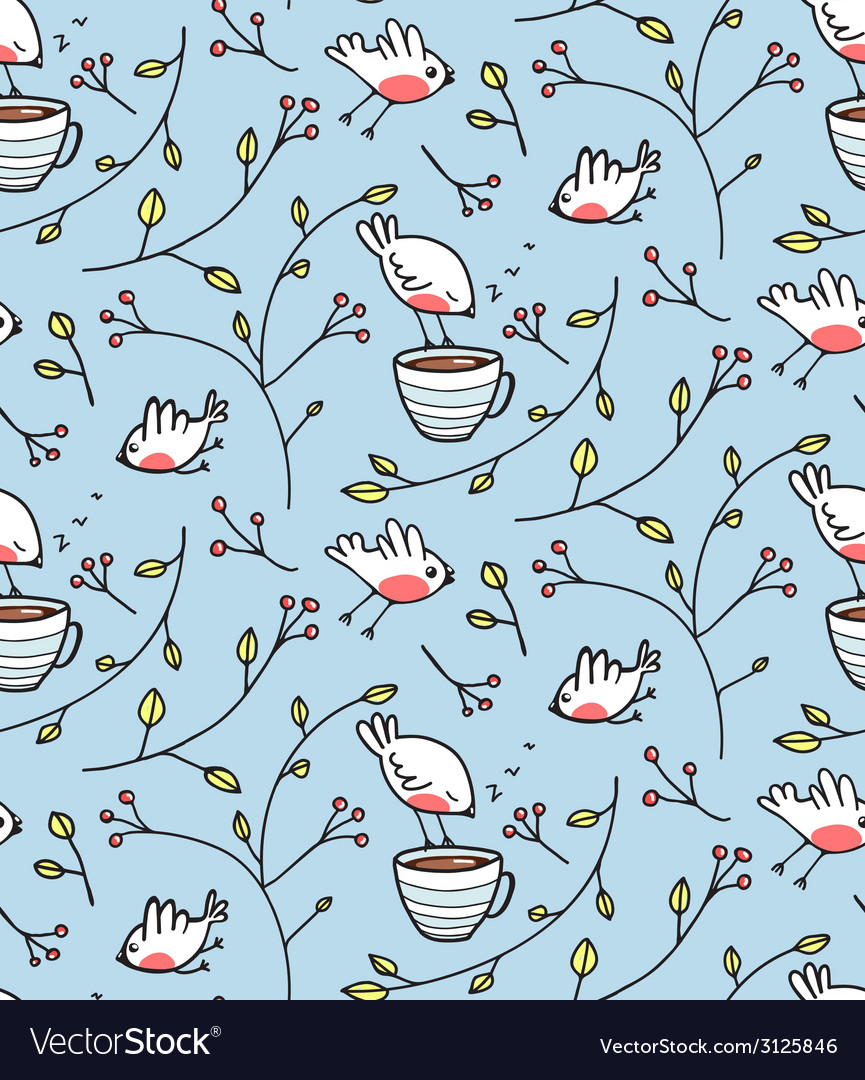 Birds and cup of tea romantic background vector | Price: 1 Credit (USD $1)