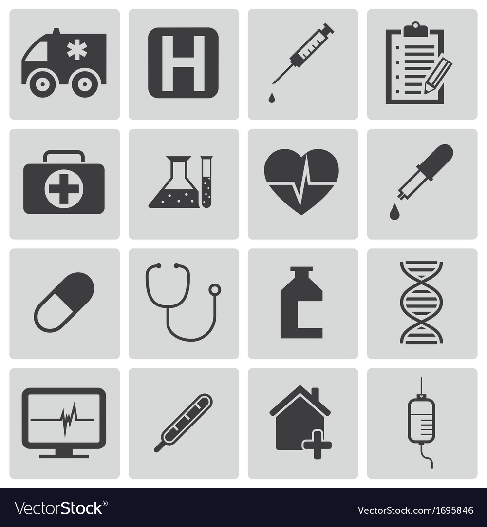 Black medical icons set vector | Price: 1 Credit (USD $1)