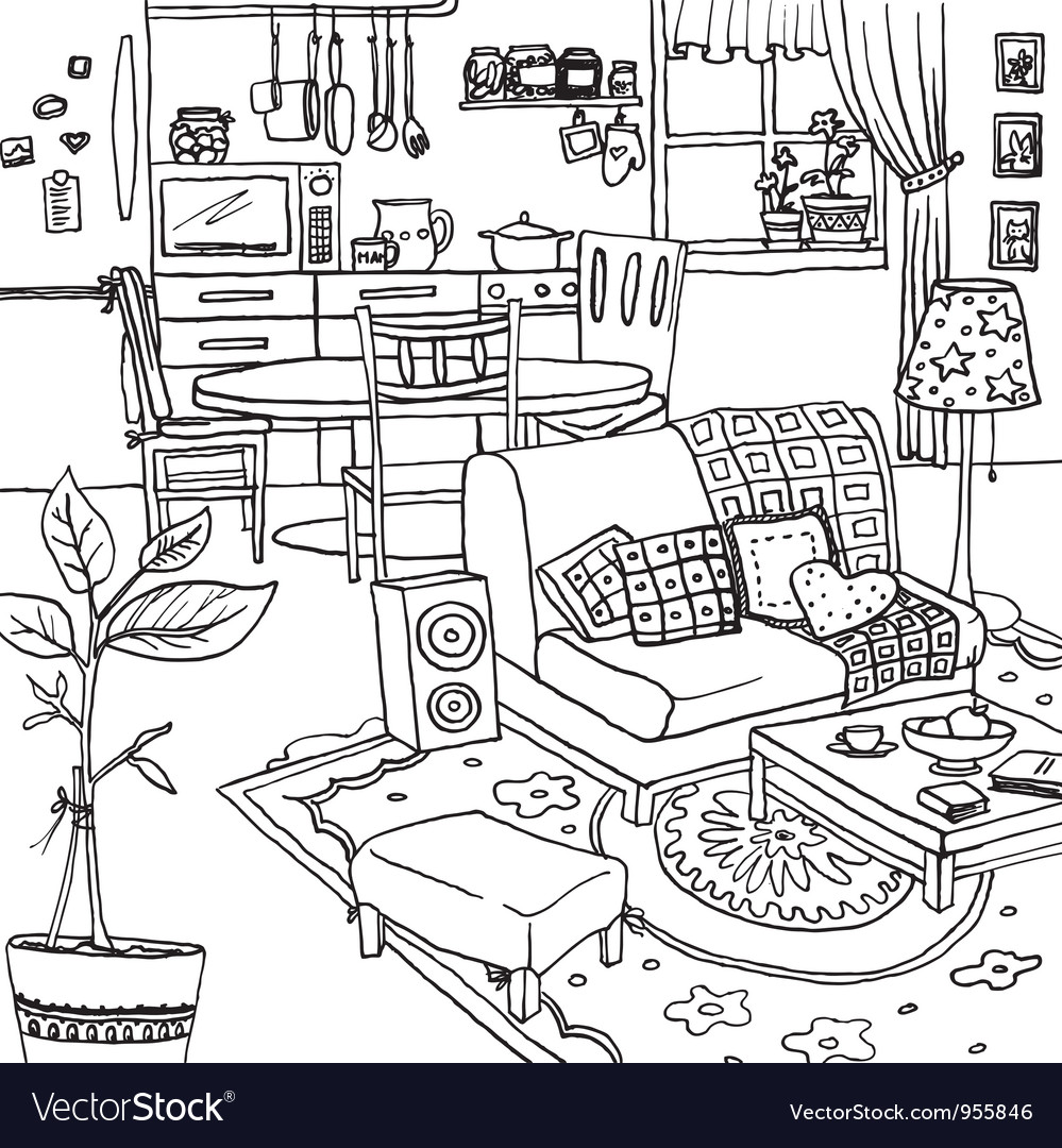 Cartoon of apartment vector | Price: 1 Credit (USD $1)