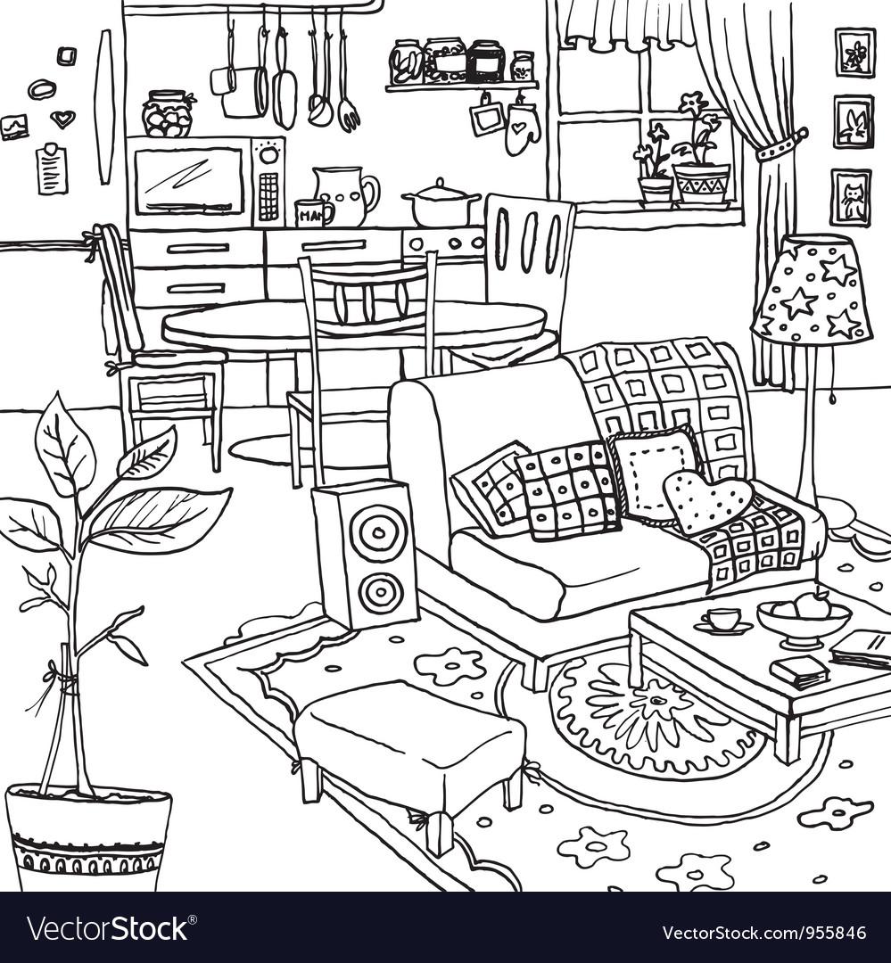 Cartoon of apartment vector | Price: 1 Credit (USD $1)