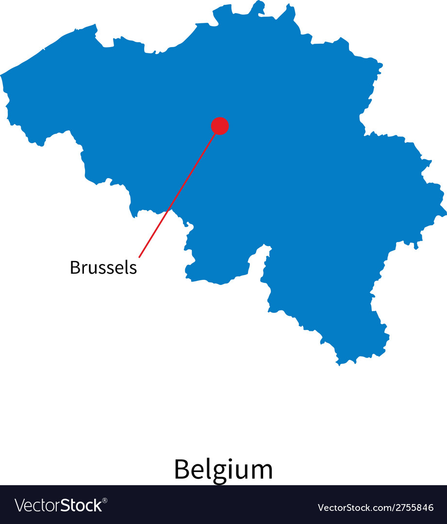 Detailed map of belgium and capital city brussels vector | Price: 1 Credit (USD $1)