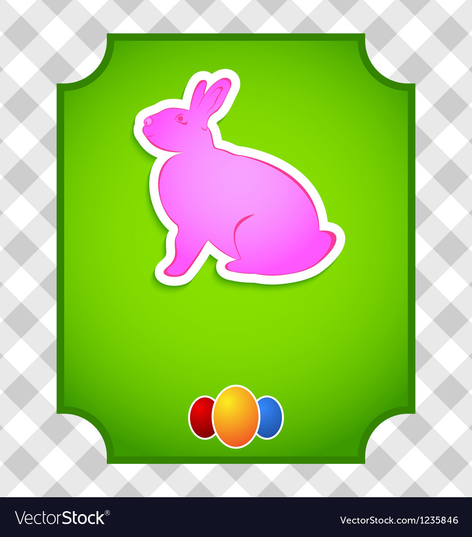 Easter card with colorful rabbit and eggs vector | Price: 1 Credit (USD $1)