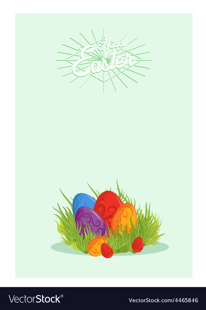Easter eggs on the green grass vector | Price: 1 Credit (USD $1)