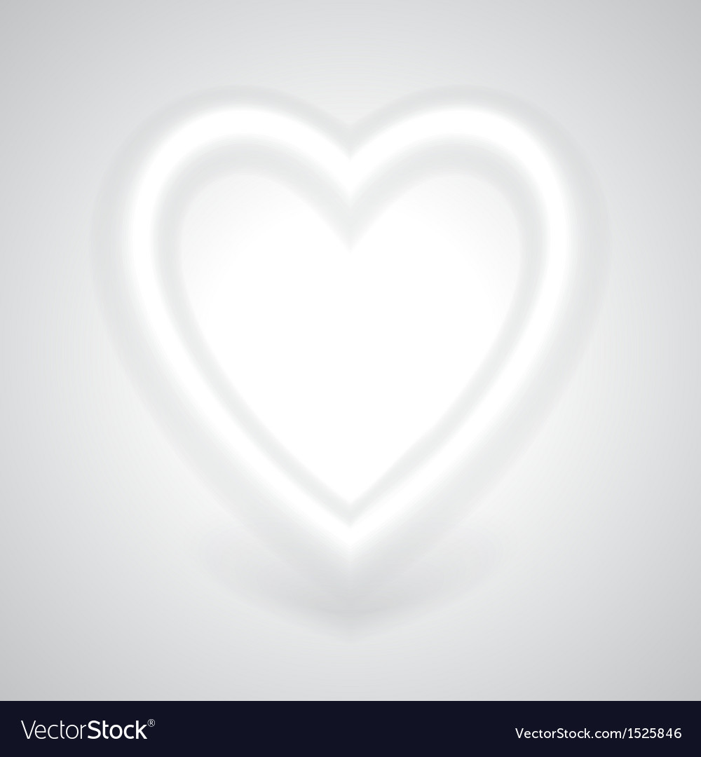 Glowing white heart with shadow vector | Price: 1 Credit (USD $1)