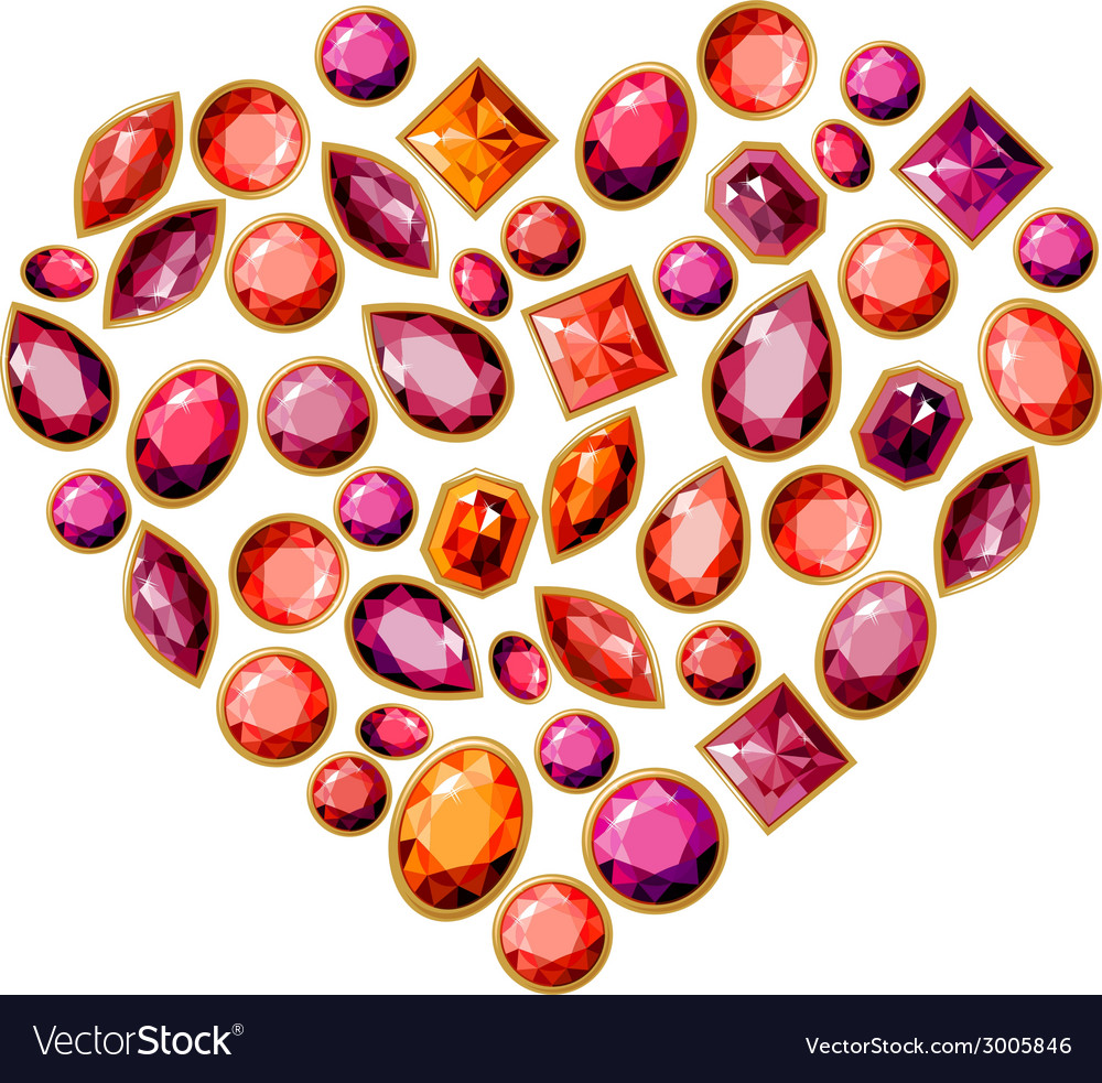 Jewellery heart made of different gems vector | Price: 1 Credit (USD $1)
