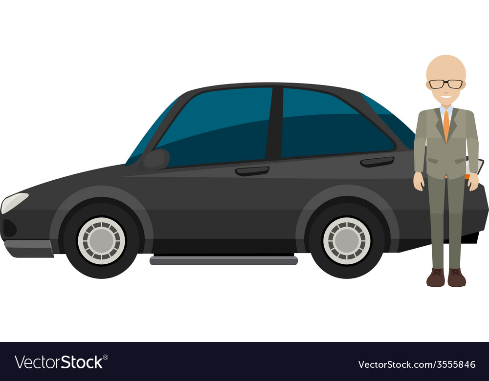Man and car vector | Price: 1 Credit (USD $1)