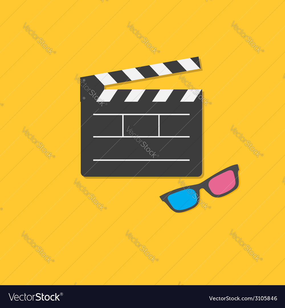 Open movie clapper board and 3d glasses template vector | Price: 1 Credit (USD $1)
