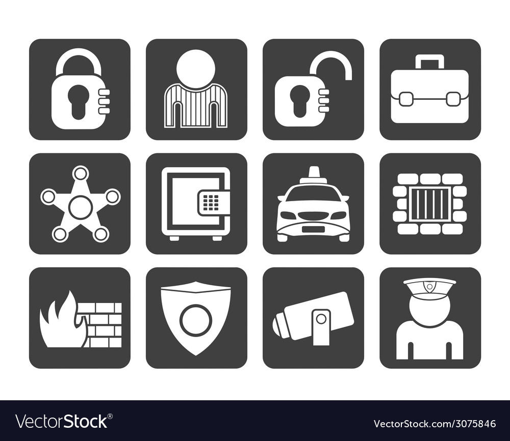 Silhouette social security and police icons vector | Price: 1 Credit (USD $1)