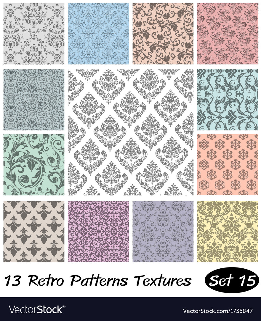 13 retro patterns textures set 15 vector | Price: 1 Credit (USD $1)