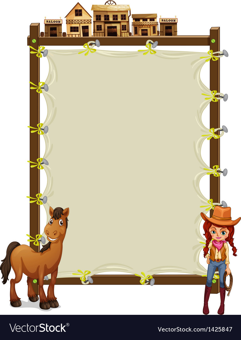 An empty signage with a cowgirl and a horse vector | Price: 1 Credit (USD $1)