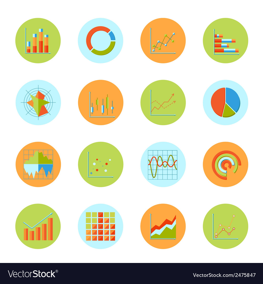 Business chart icons flat vector | Price: 1 Credit (USD $1)