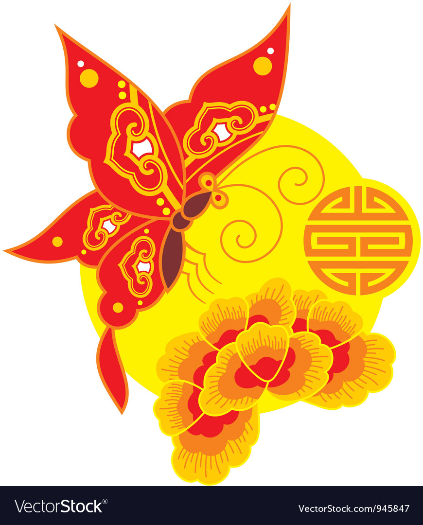 Chinese style butterfly and flower vector | Price: 1 Credit (USD $1)