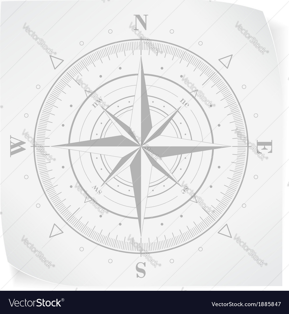 Compass rose over white paper sticker isolated on vector | Price: 1 Credit (USD $1)