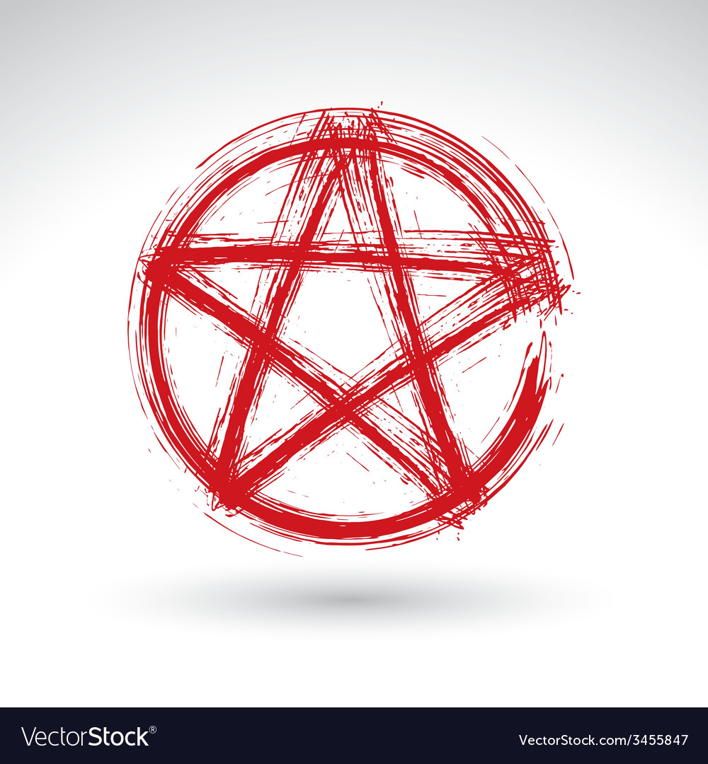 Hand drawn pentagram icon scanned and brush vector | Price: 1 Credit (USD $1)