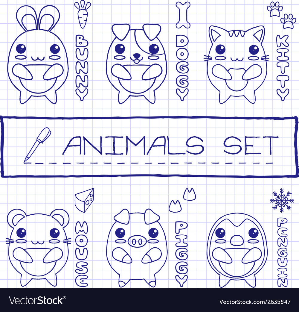 Hand drawn set of japanese style baby animals vector | Price: 1 Credit (USD $1)