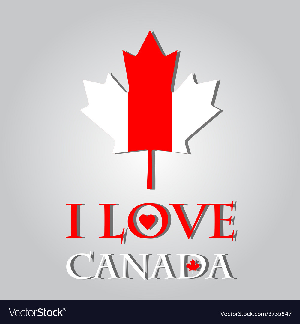 I love canada sign and labels on maple leaf flag vector | Price: 1 Credit (USD $1)