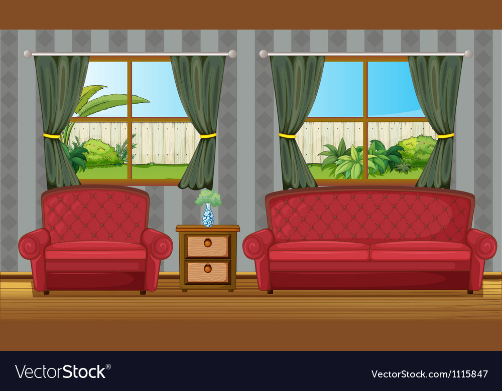 Red sofaset vector