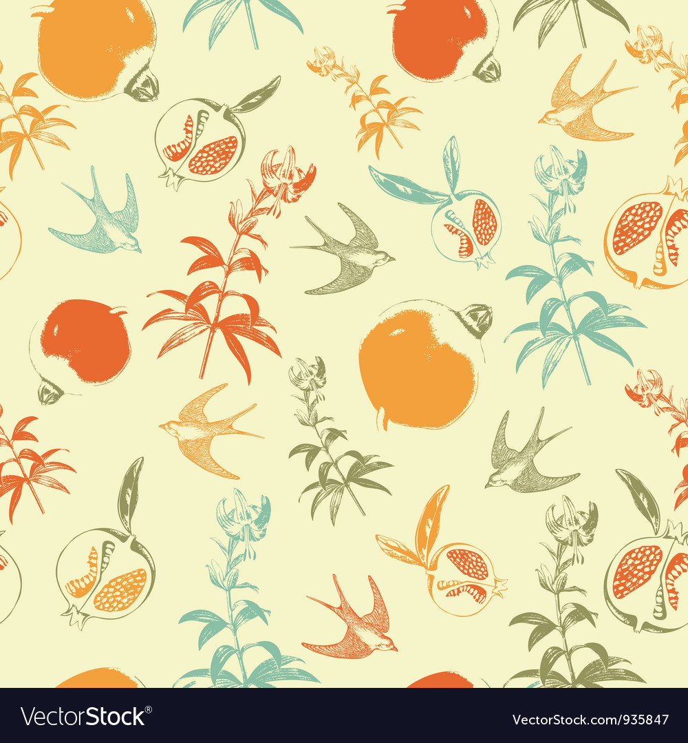 Retro swallows pattern vector | Price: 1 Credit (USD $1)