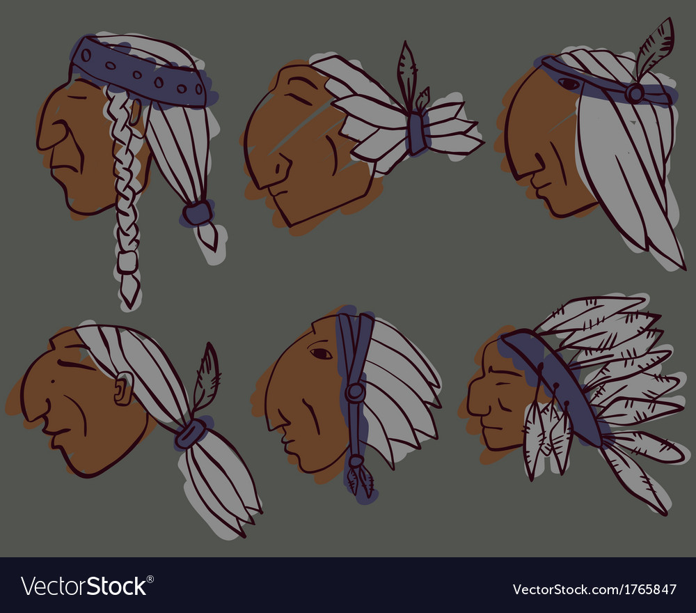 Set of red indian heads vector | Price: 1 Credit (USD $1)