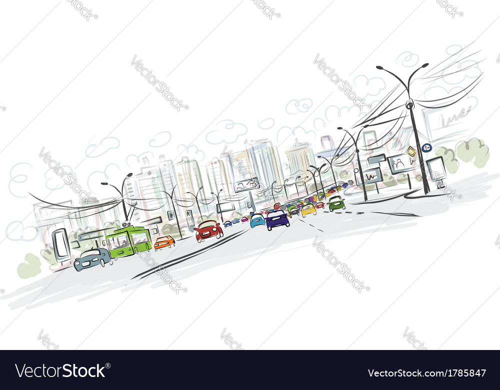 Sketch of traffic road in city for your design vector | Price: 1 Credit (USD $1)
