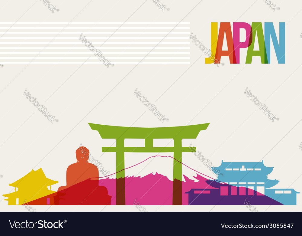Travel japan destination landmarks skyline vector | Price: 1 Credit (USD $1)