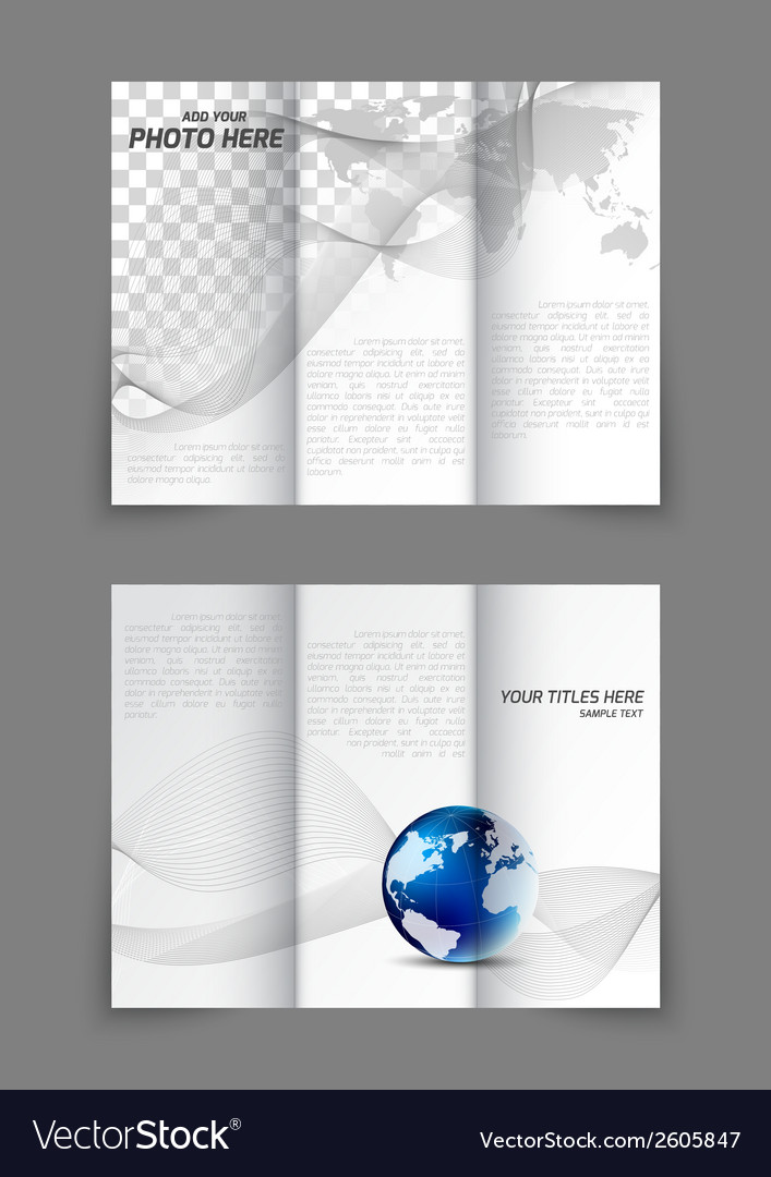 Tri-fold business wavy brochure vector | Price: 1 Credit (USD $1)